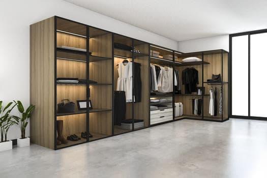 3d Rendering Minimal Scandinavian Walk Closet With Wood Wardrobe
