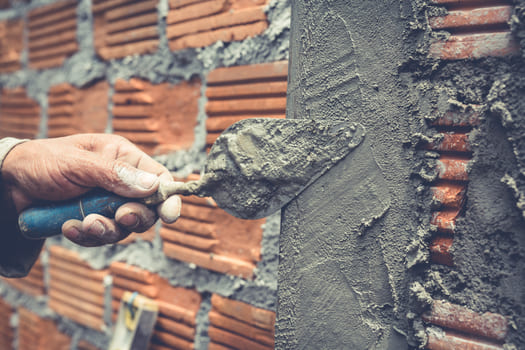 Bricklaying Construction Worker Building Brick Wall