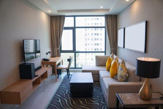 Cozy Living Room Interior With Panoramic Window