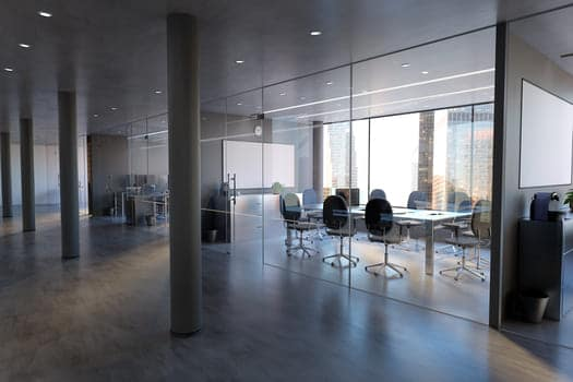 Glass Office Room Wall Mockup 3d Rendering