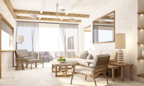 Interior Perspective Living Area With Wooden Texture Furniture In Apartment Rendering