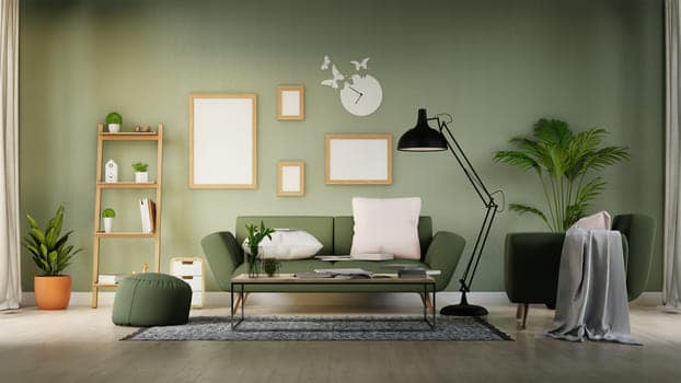 Interior Poster Mock Up Living Room With Colorful White Sofa 3d Rendering
