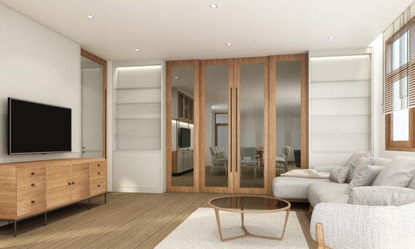 Living Area In Modern Contemporary Style Interior Design With Wooden Window Frame And Sheer With Grey Furniture Tone 3d Rendering