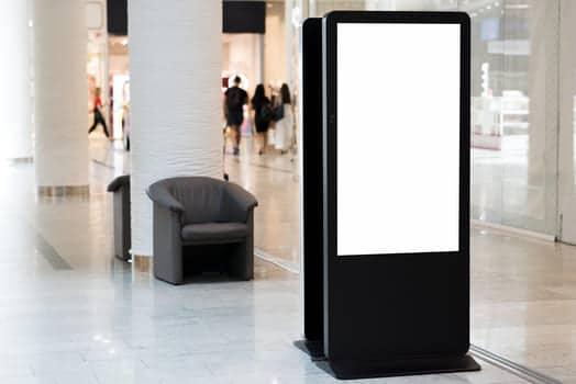 Standing Blank Billboard Inside Mall