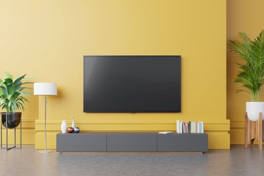 Tv Cabinet Modern Living Room With Lamp Table Flower Plant Yellow Wall Background