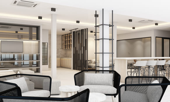 Work And Rest Areas With Bookcase And Conference Table In White Modern Office Rendering